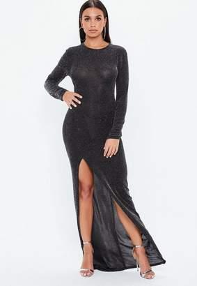 Missguided Black Glitter High Side Split Maxi Dress