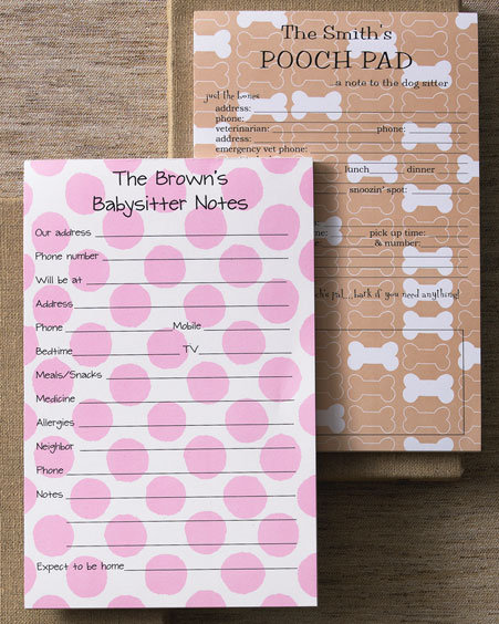 Babysitter & Pooch Sitter Notepads