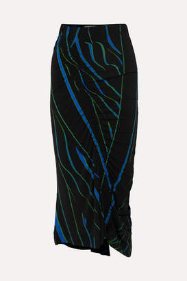 Preen by Thornton Bregazzi Tracy Ruched Printed Stretch-crepe Midi Skirt - Black
