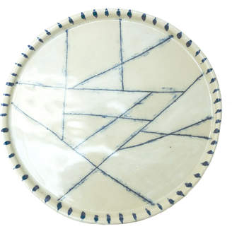 Rust Designs Points White & Blue Ceramic Platter