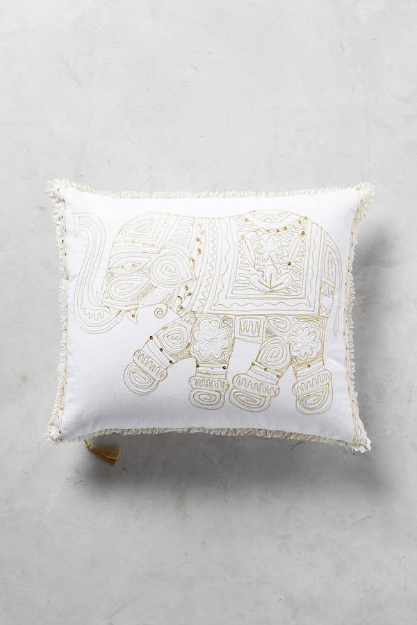 AnthropologieAnthropologie Embroidered Elephant Pillow