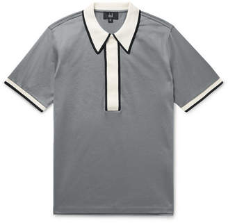 Dunhill Contrast-Trimmed Cotton-Jersey Polo Shirt - Men - Gray