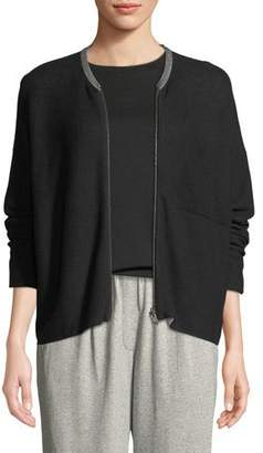 Eileen Fisher Organic Cotton Knit Zip-Front Jacket, Plus Size