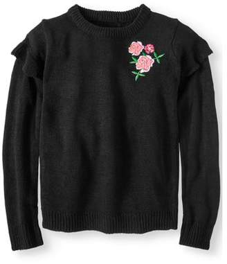 Pink Angel Embroidered Rose Ruffle Sleeve Pullover Sweater (Little Girls & Big Girls)