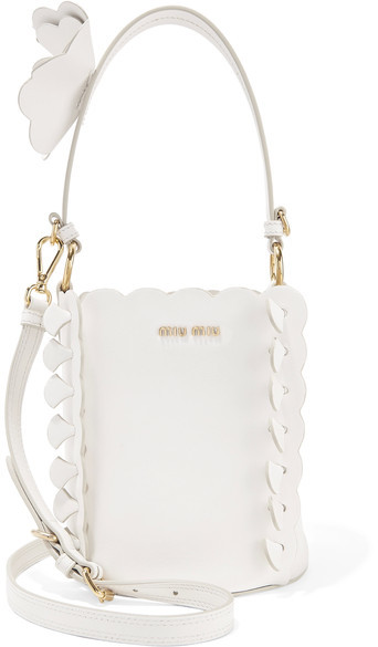 Miu MiuMiu Miu - Appliquéd Leather Bucket Bag - White