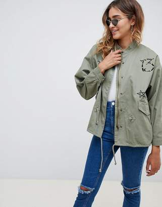 Missguided Khaki Badge Details Parka Jacket