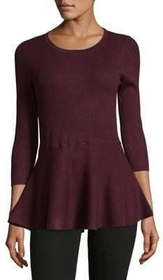 Lord & Taylor Ribbed Peplum Sweater