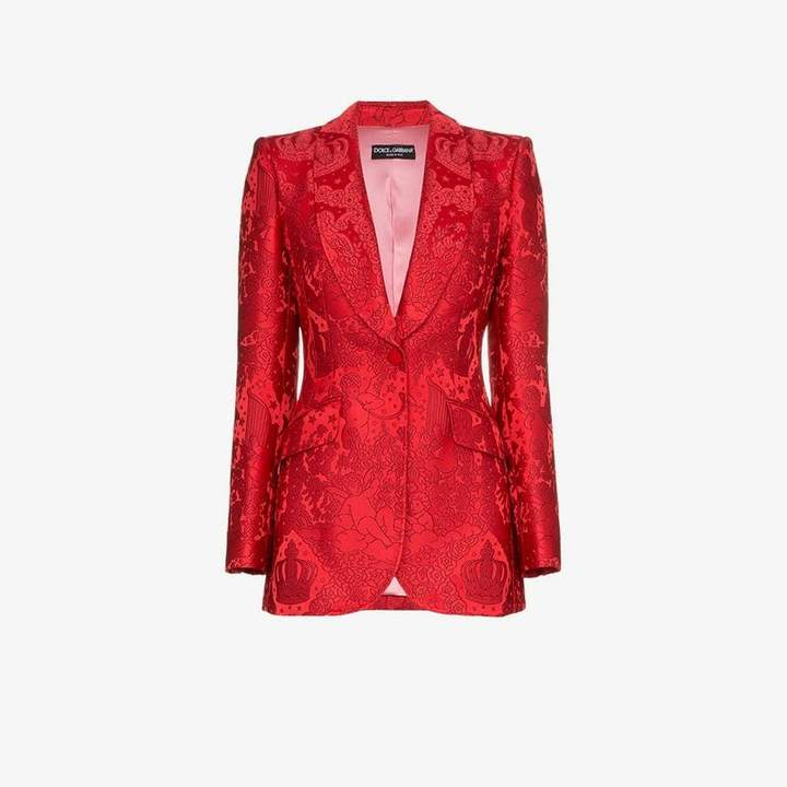 brocade single breasted silk blend jacket