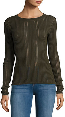 DKNYDkny ?Sheer Ribbed Crewneck Sweater