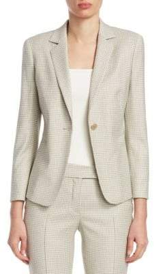 Akris Punto Wool-Blend Micro Check Blazer