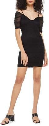 Topshop Sweetheart Neck Lace Body-Con Minidress