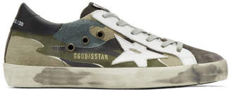 Golden Goose Grey and White Camo Superstar Sneakers