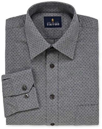 STAFFORD Stafford Brushed Twill Cotton Big And Tall Long Sleeve Twill Pattern Dress Shirt