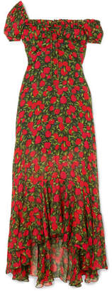 Raquel Diniz - Alice Floral-print Silk-chiffon Maxi Dress - Red