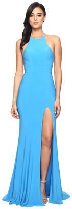 Faviana Jersey Halter w/ Back Cut Out 7976 Women's Dress