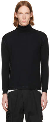Issey Miyake Black Wool High Gauge Turtleneck