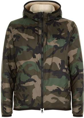 Valentino Camouflage Shearling Hooded Jacket
