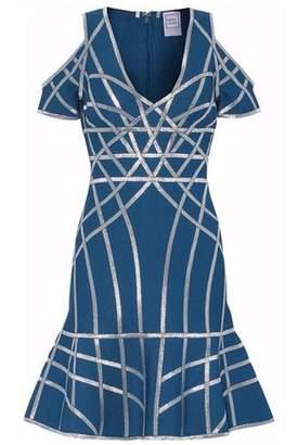 Herve Leger Cold-Shoulder Metallic Bandage Mini Dress