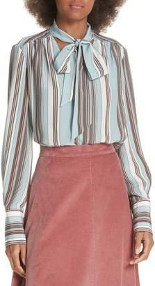 Elizabeth and James Mimi Tie Neck Stripe Silk Blouse