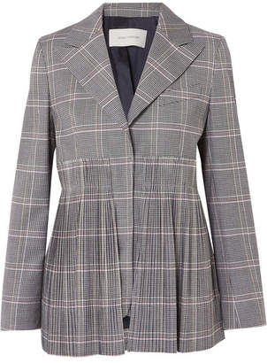 Cédric Charlier Pleated Checked Wool-blend Blazer - Gray