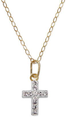 Macy's Children's Swarovski Crystal Cross Pendant Necklace in 14K Gold