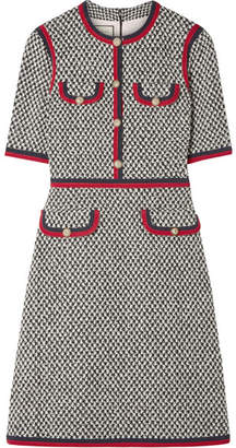 Gucci Grosgrain-trimmed Cotton-blend Tweed Mini Dress - Gray