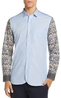 Junya Watanabe Pattern Block Slim Fit Button-Down Shirt $557 thestylecure.com