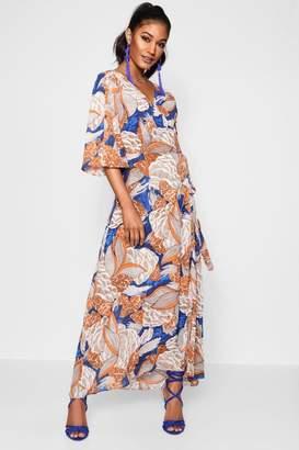 boohoo Santini Bright Floral Wrap Front Maxi Dress