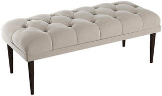 One Kings Lane Carrie Tufted Bench - Light Gray Velvet