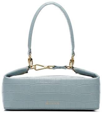 Rejina Pyo blue Olivia crocodile embossed leather box bag