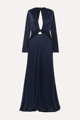 Dundas Cutout Ruched Stretch-jersey Gown - Navy