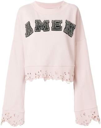 Amen studded logo sweatshirt with distressed edges