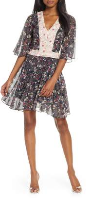 Cooper St Star Crossed Floral Flutter Sleeve Chiffon Minidress