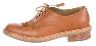 Balenciaga Leather Round-Toe Oxfords Cognac Leather Round-Toe Oxfords