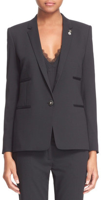 The Kooples Suit Jacket with Faux Leather Trim $575 thestylecure.com