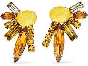 Elizabeth Cole 24-Karat Gold-Plated Swarovski Crystal And Stone Earrings