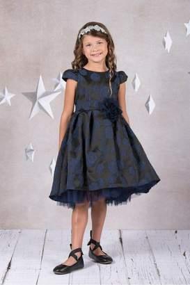 Kids Dream Peek-A-Boo Tulle High-Low Girl Dress- Flower Elegance Navy