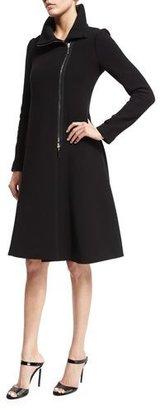 Armani Collezioni Long-Sleeve Asymmetric-Zip Coat Dress, Black $1,995 thestylecure.com