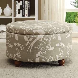 Coaster Company Bird and Floral Print Ottoman, Grey