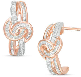 Zales 1/2 CT. T.W. Baguette and Round Diamond Knot J-Hoop Earrings in 10K White Gold and Rose Rhodium