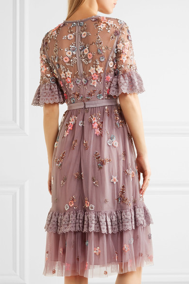 Needle & Thread - Embellished Embroidered Tulle Dress - Lavender 4
