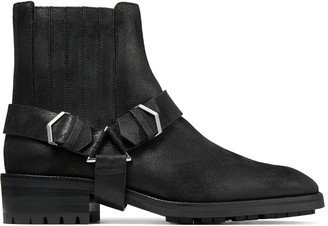 Jimmy Choo LOKK Black Oiled Suede Ankle Boots