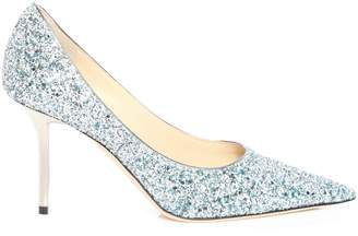Jimmy Choo LOVE 85 Denim Mix Painted Coarse Glitter Fabric Pointy Toe Pumps