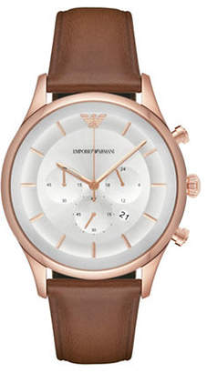 Emporio Armani Chronograph Lambda Rose-Goldtone Leather Strap Watch