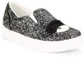 Chiara Ferragni Wink Glitter Leather Slip-On Sneakers