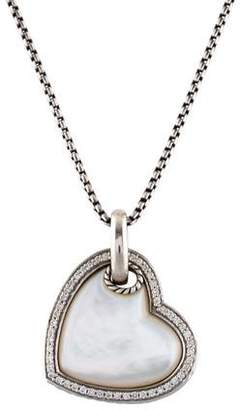 David Yurman Mother of Pearl & Diamond Cable Heart Pendant Necklace