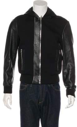 Givenchy Neoprene & Leather Hoodie