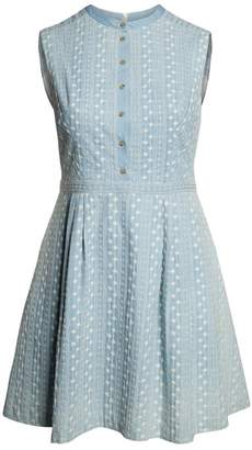 Gal Meets Glam Quinn Embroidered Chambray Fit & Flare Dress