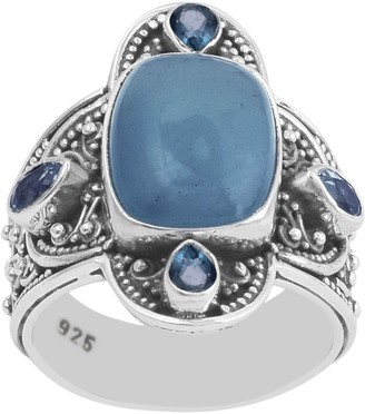 Artisan Crafted Sterling Milky Aqua and LondonBlue Topaz Ring