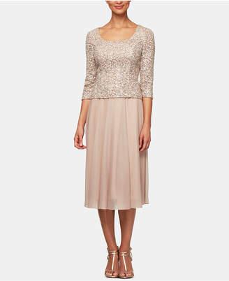 Alex Evenings Petite Sequin-Top A-Line Dress